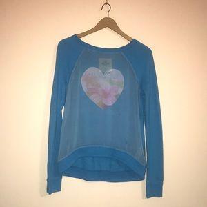 ⚫️5/25 Hollister Blue Sheer Front Heart Sweatshirt
